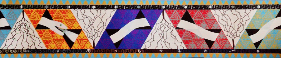 Winter deel Möbiusband - acryl op papier - 91,25 x 19 cm