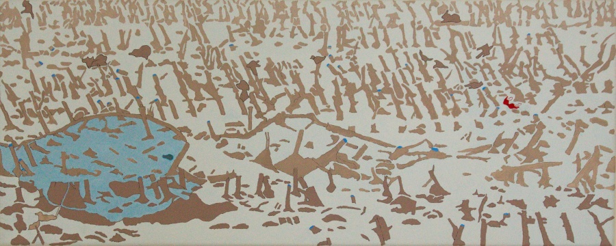 Het grote grazen - acryl op canvas -100 x 40 cm