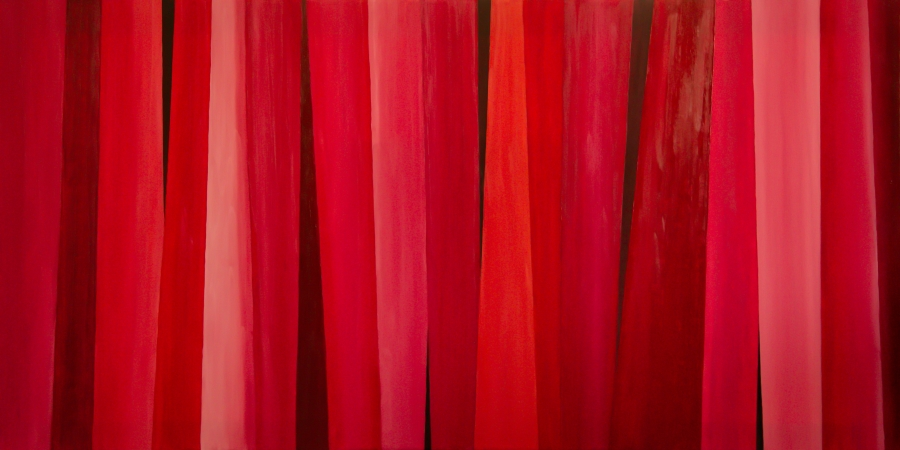 Compositie in in rood - olieverf op canvas -120 x 60 cm