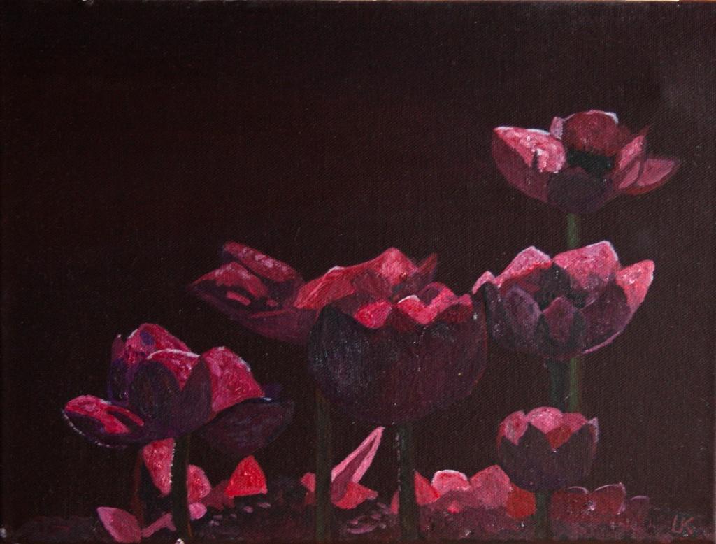 Anemonen - acryl op canvas 40 x 30 cm