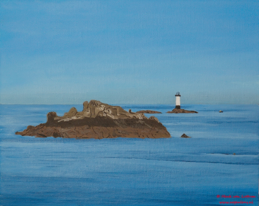 Pointe du Grouin - olieverf op board, 24 x 32 cm