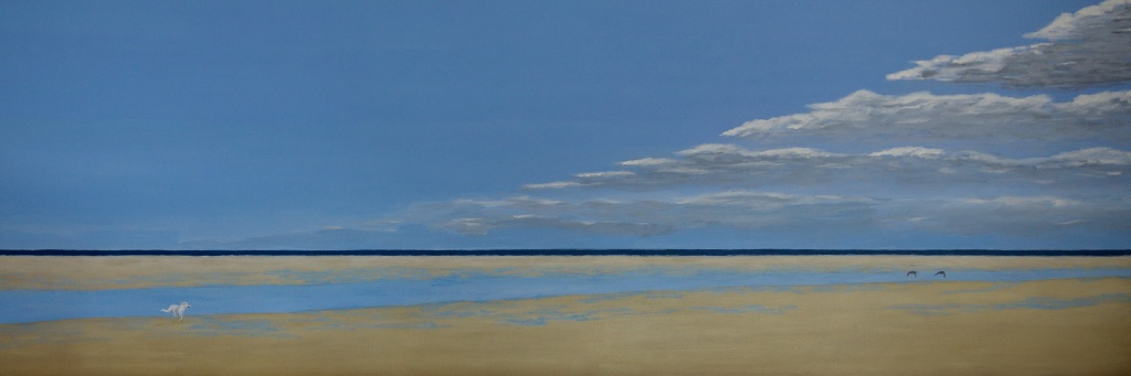 Op jacht, acryl op canvas 120 x 40 cm