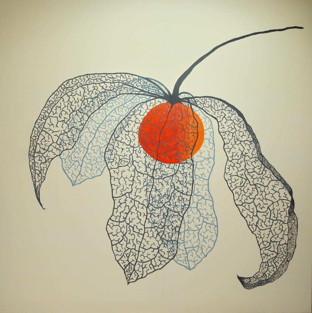 Lampionplant - acryl op canvas 90 x 90 cm