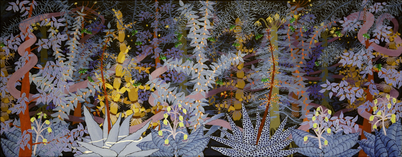 Magisch bos 1- acryl op canvas -100 x 40 cm