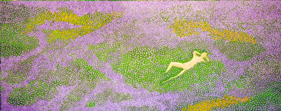 Liggend in het gras - acryl op canvas -100 x 40 cm