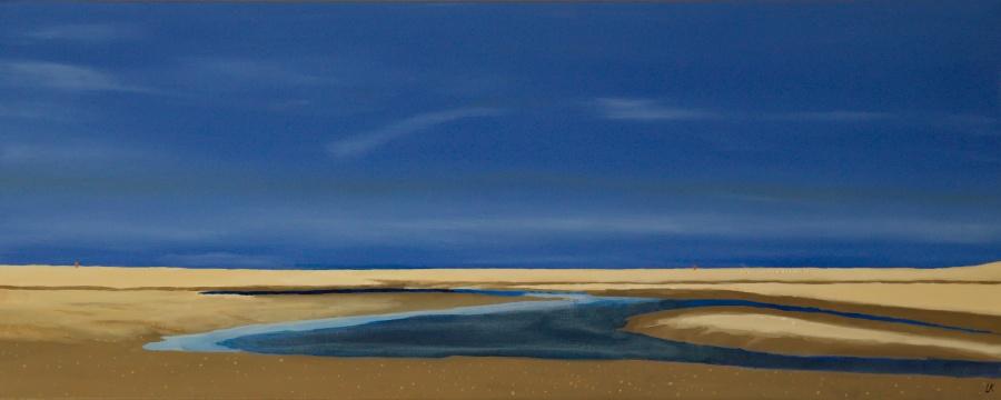 Slufter op Texel - olieverf op canvas -100 x 40 cm