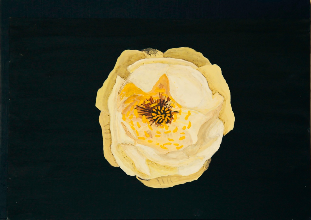 Globebloem - acryl op karton 22,5 x 16 cm