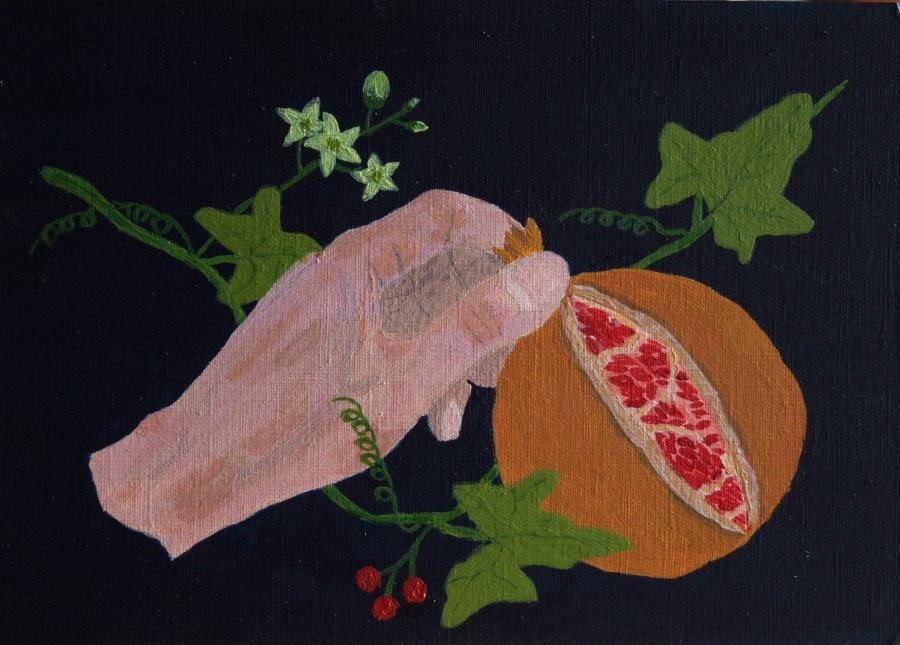 Hand met granaatappel - acryl op karton - 23 x 16,5 cm