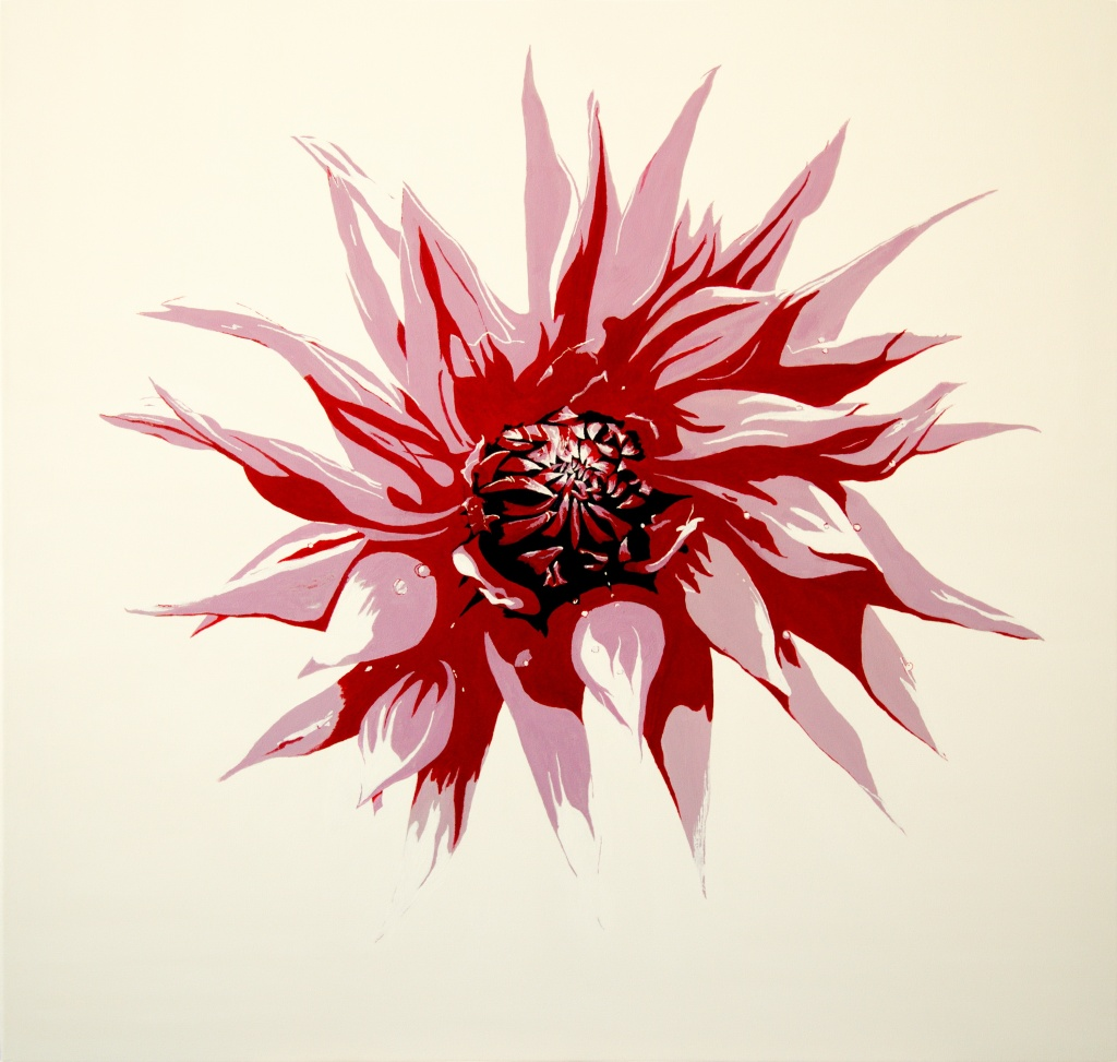 Dahlia - acryl op canvas 90 x 90 cm