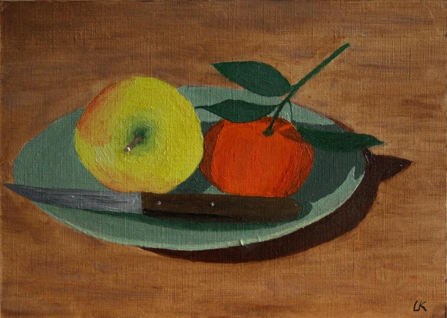Stilleven met appel en mandarijn - olieverf op karton - 23 x 16,5 cm