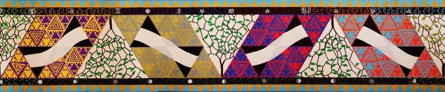Zomer deel Möbiusband - acryl op papier - 91,25 x 19 cm