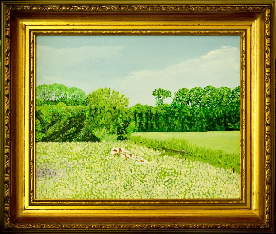 Bij Huis Dorth- olieverf op passe-partout karton- 25,5 x 20,5 cm