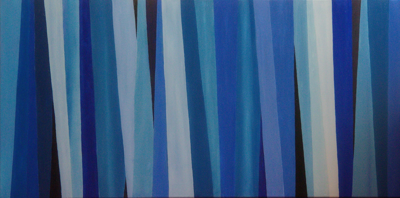 Compositie blauw - olieverf op canvas - 120 x 60 cm