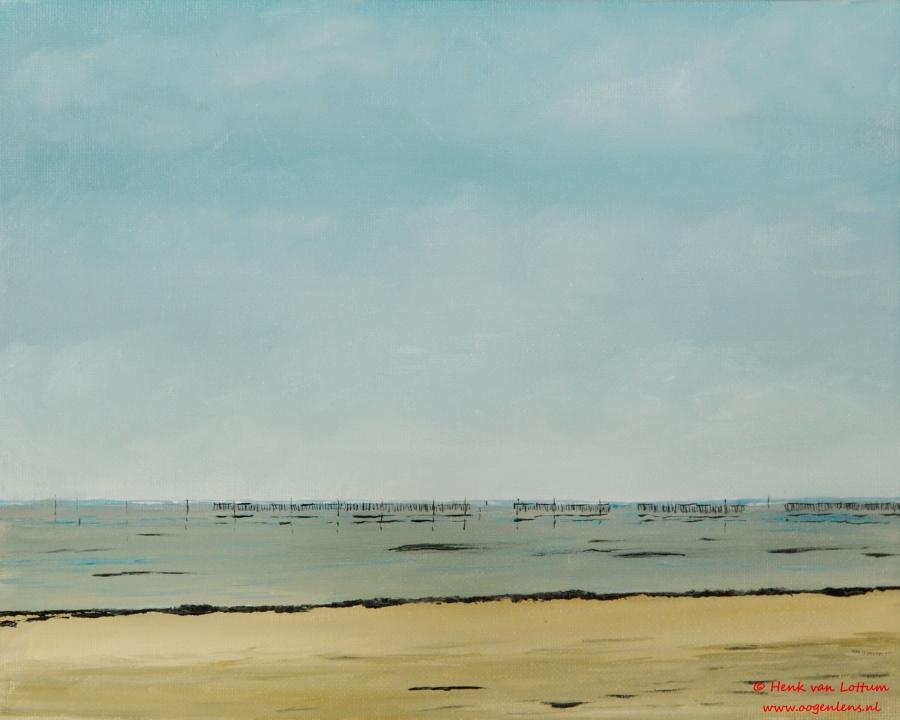Hirel Plage - olieverf op board, 24 x 32 cm