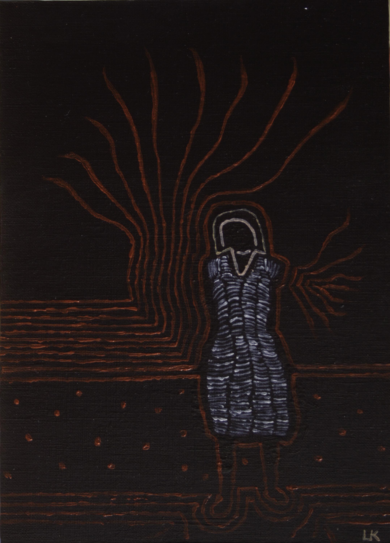 Jurk - acryl op karton - 16,5 x 23 cm