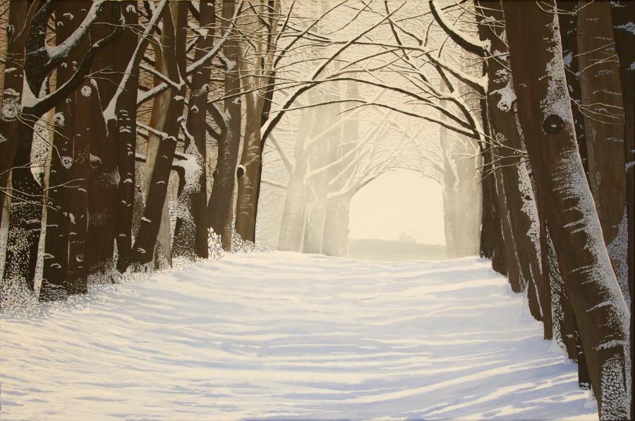 Winter- acryl op canvas - 120 x 90 cm