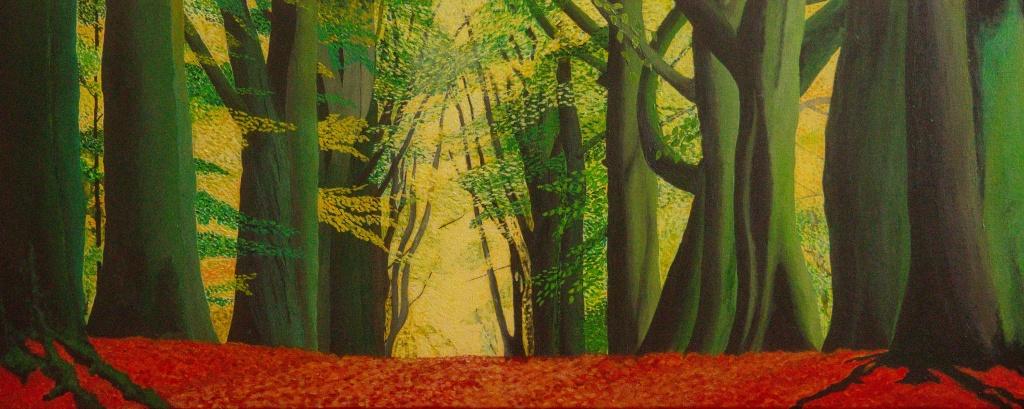 Beukenlaan acryl op canvas 100 x 40 cm