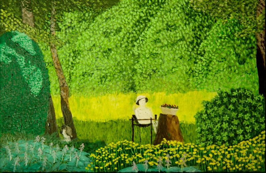 Tuin van Mies- acryl op passe-partout karton - 29,5 x 19,5 cm
