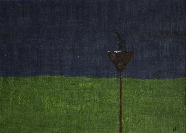 Duin met aalscholver - acryl op karton - 23 x 15,5 cm