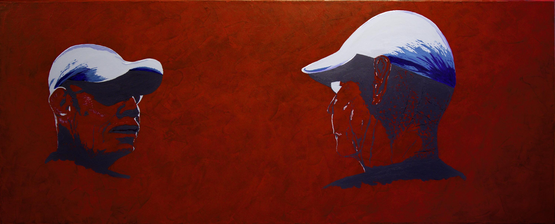 Ik kijk naar mezelf - acryl op canvas - 100 x 40 cm