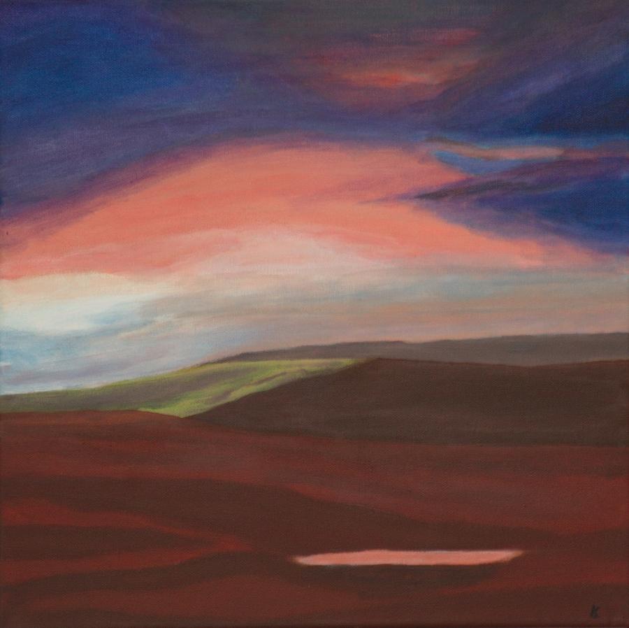 Avond landschap - acryl op canvas - 40 x 40 cm