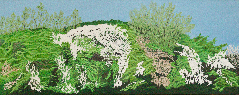 Sleedoornhaag - acryl op canvas - 100 x 40 cm