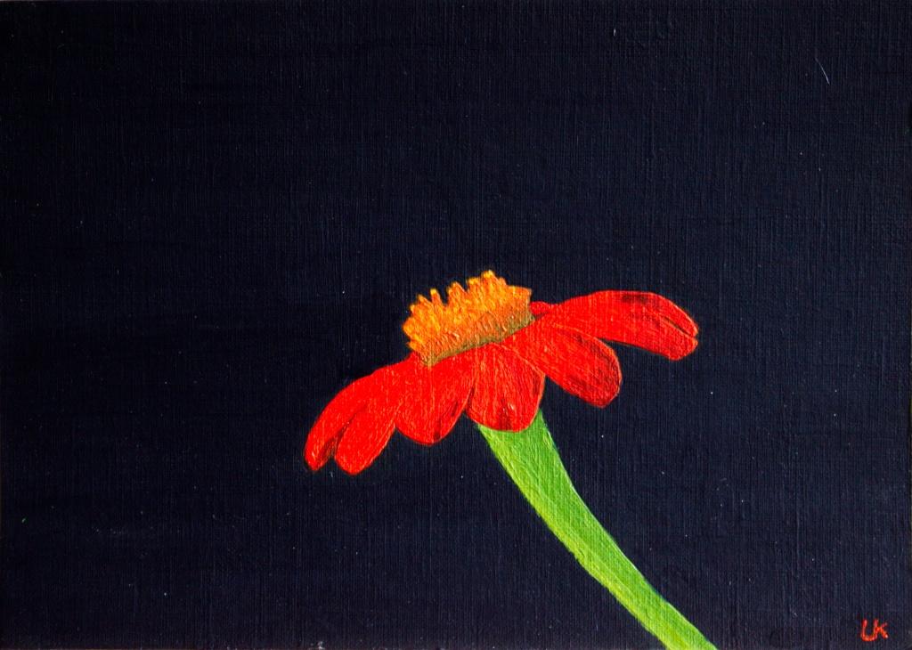 Titonia - acryl op karton 22,5 x 16 cm