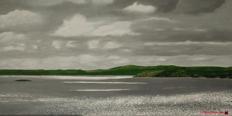 Pointe d'Espangnol, Bretagne olieverf op canvas 30 x 60 cm