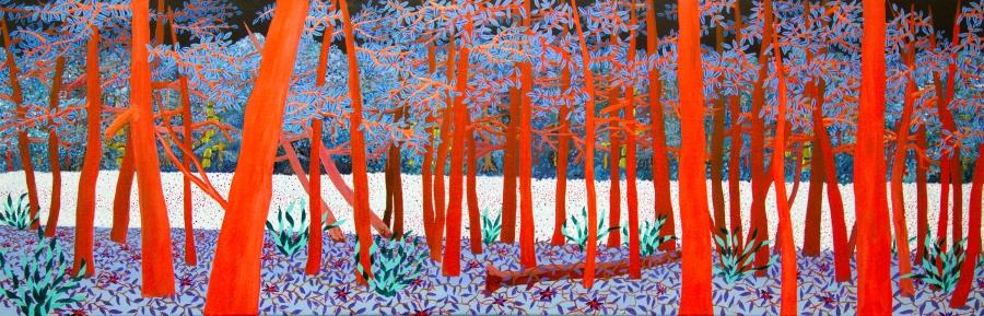 Magisch bos 3 - acryl op canvas - 120 x 40 cm