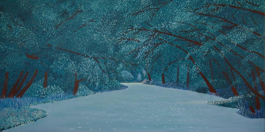 't Joppe in blauw - acryl op doek - 120x60 cm