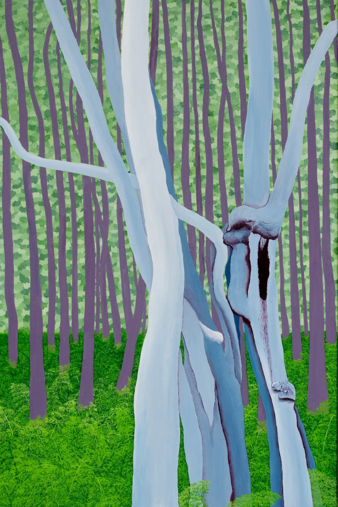 Bos met varens - acryl op canvas - 120 x 90 cm