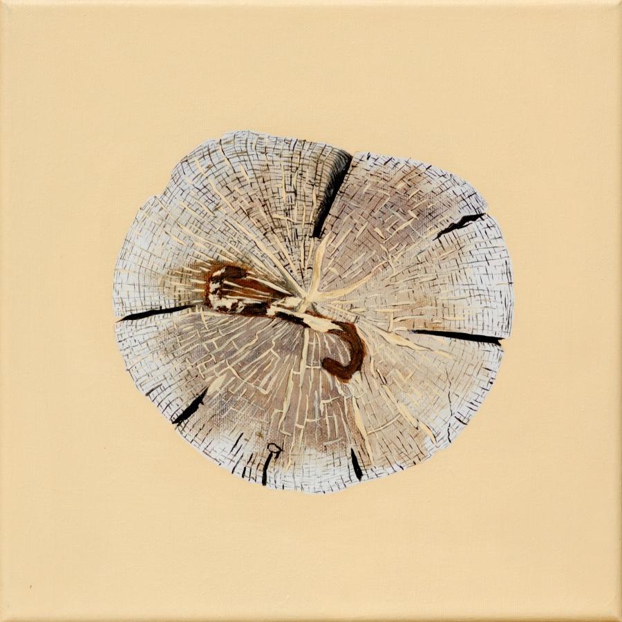 Paalkop 20, met kram - acryl op canvas - 30 x 30 cm