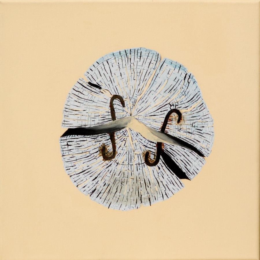 Paalkop 21, met kram - acryl op canvas - 30 x 30 cm