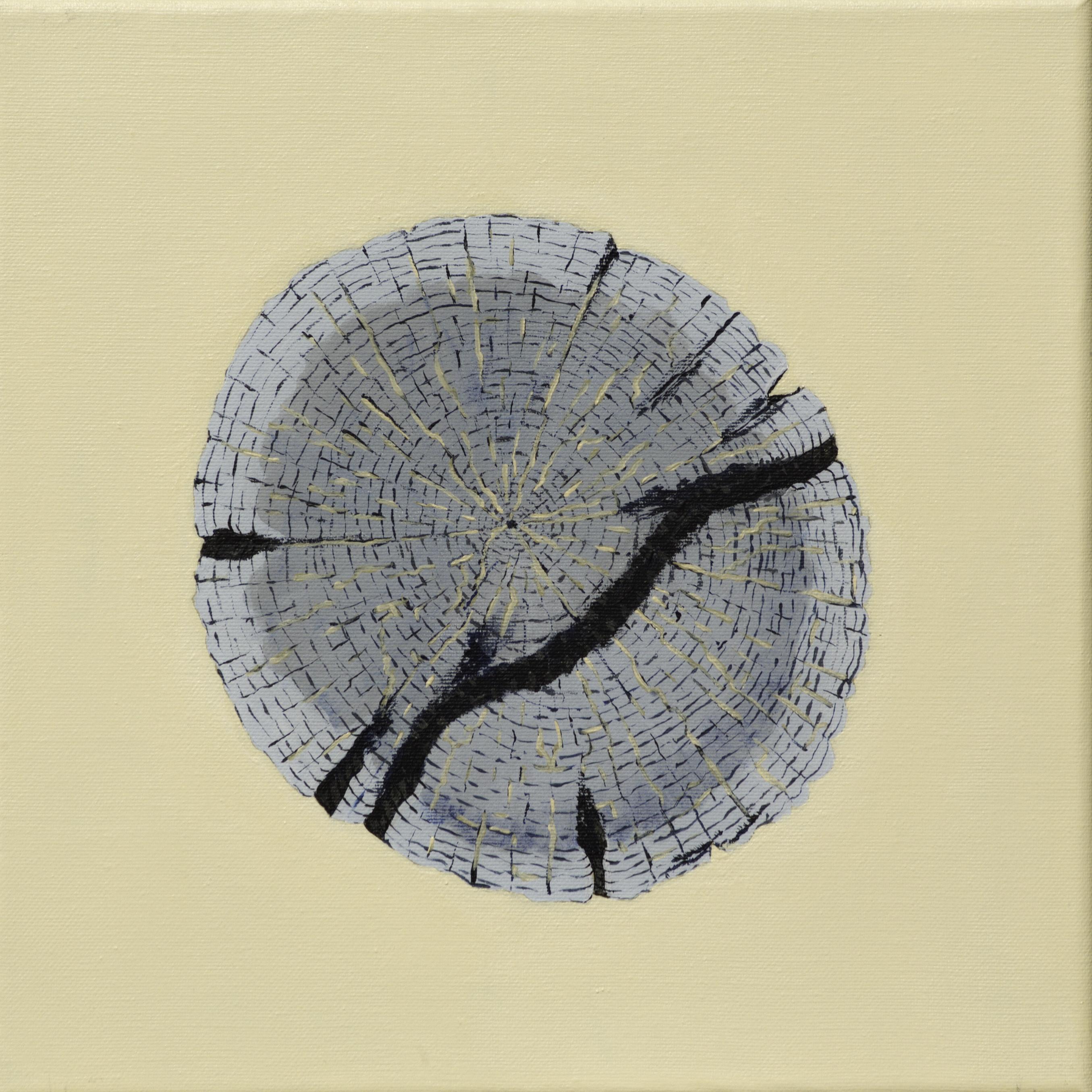 Paalkop 4 - acryl op canvas - 30 x 30 cm