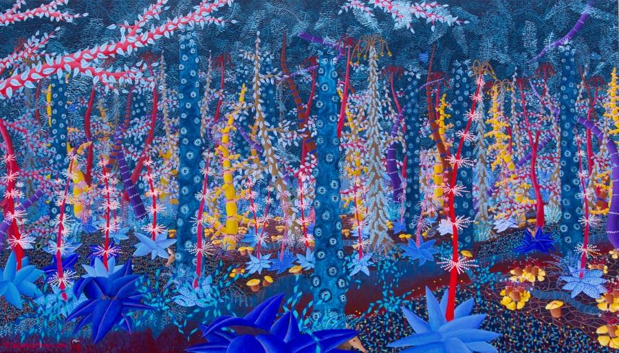 Magisch bos 4 acryl op canvas 160 x 90 cm