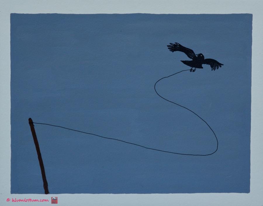 Gevangen - acryl op papier - 41 x 32 cm