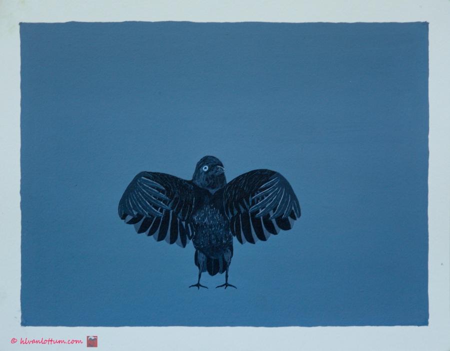 Omarming - acryl op papier - 41 x 32 cm