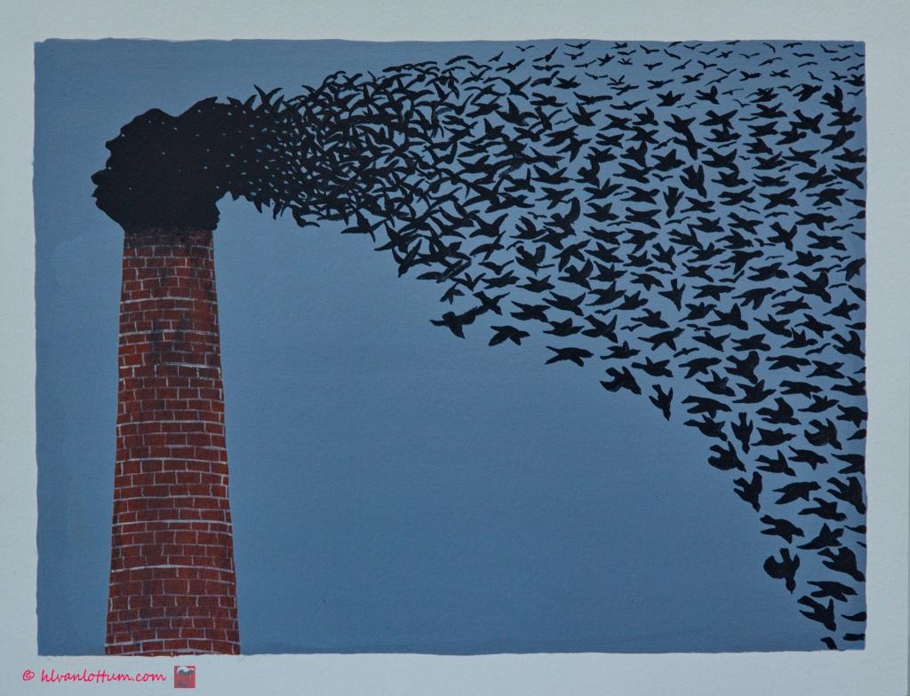 Urgent - acryl op papier - 41 x 32 cm