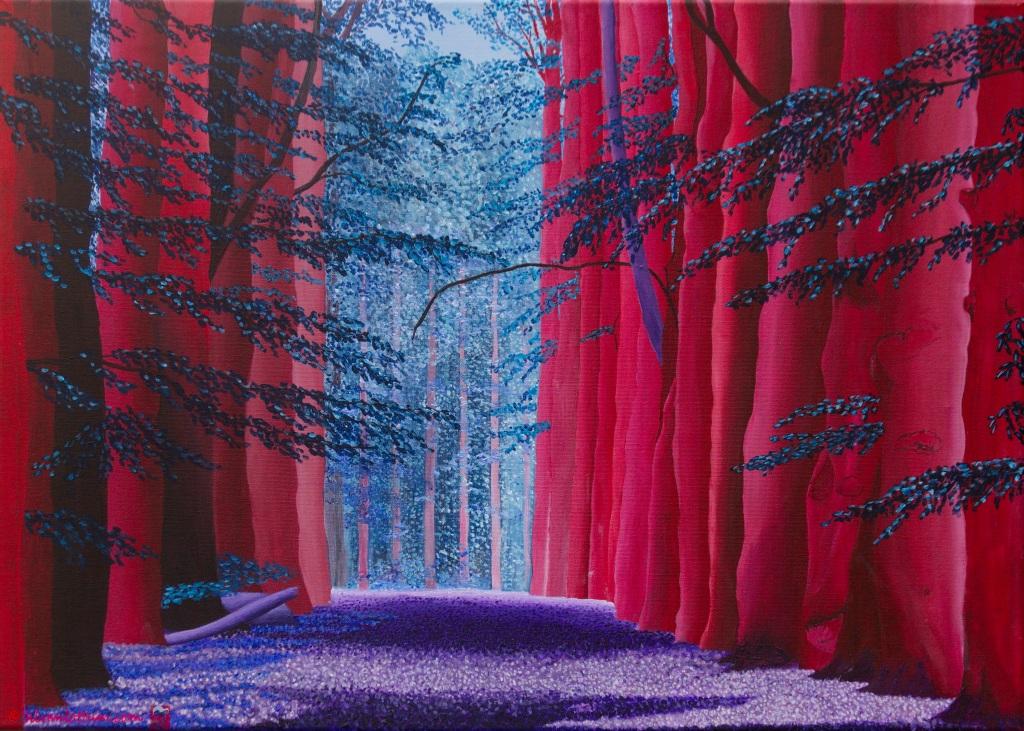 Joppe in blauw  -  acryl op canvas  -  70 x 50 cm  -  midden